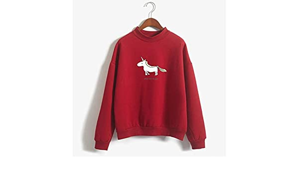 Women Hoodies Female Long Sleeve Fleece Turtleneck Sweatshirt Autumn Winter Kawaii Unicorn Print Harajuku Casual Pullover (Red, L) at Amazon Womens ...