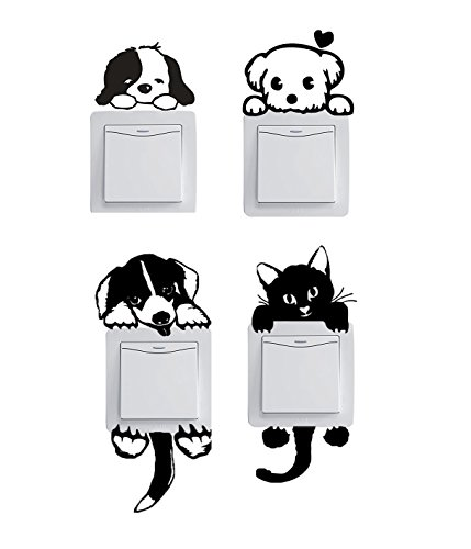 Cheap  Cute Set of 12 Pet Dog Cat Black Wall Plug Decal Sticker..