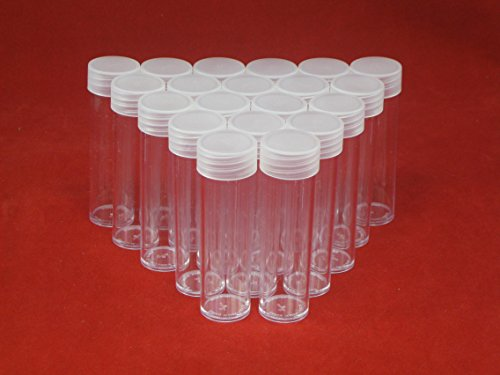 (20) Round Clear Plastic (Penny Cent) Size Coin Storage Tube Holders Screw on Lid