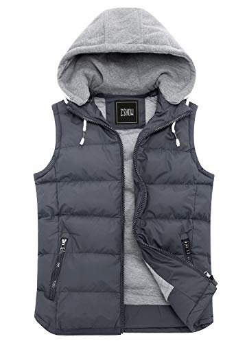 ZSHOW Men's Winter Removable Hooded Cotton-Padded Vest Outerwear -