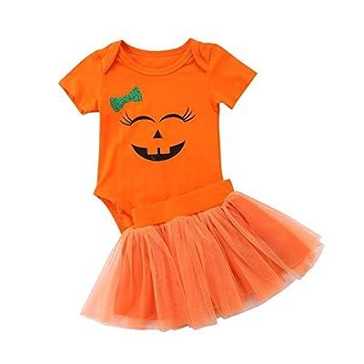 Happy Town Baby Girl Halloween Costumes Pumpkin Smiles Short Sleeve Bodysuit Tutu Skirt Bowknot Dress Outfits