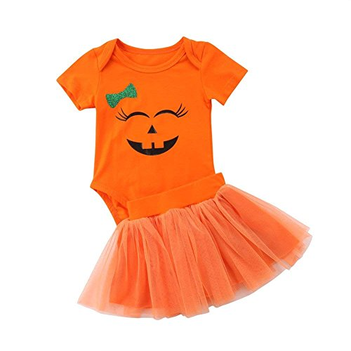 Happy Town Baby Girl Halloween Costumes Pumpkin Smiles Short Sleeve Bodysuit Tutu Skirt Bowknot Dress Outfits (Orange, 18-24 Months)]()