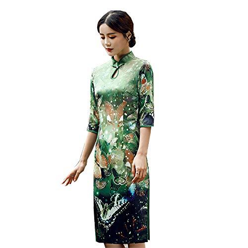 5ec0e48f0f0 Shanghai Story Long Sleeve Vintage Classic Cheongsam Silk Printed Long Cheongsam  Chinese Qipao
