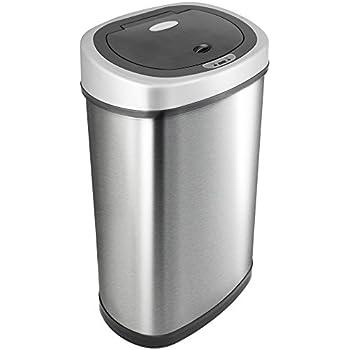 NINESTARS DZT-50-9 Automatic Motion Sensor Oval Trash Can, 13.2 Gal. 50 L., Stainless Steel