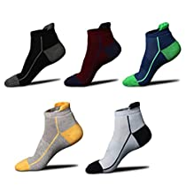 WEILAI SOCKS Mens 5 Pack Atheltic Running Socks-Causal Cotton No-show Socks