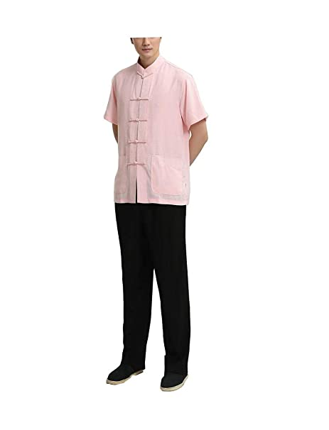 Camisa de Manga Corta de Traje Negro Rosa Tai Chi de Lino de ...