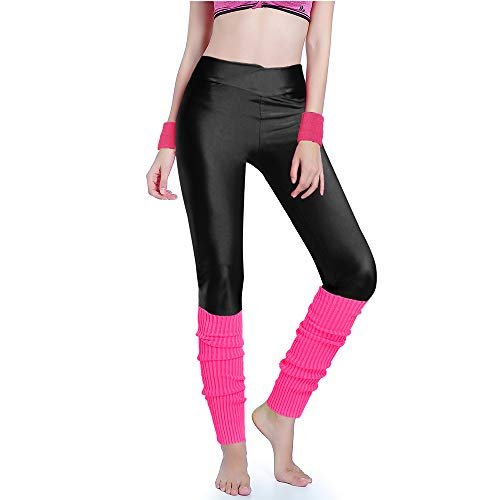 Warm Knit - Kimberly's Knit Women 80s Party Neon Capri Running Workout Leggings Leg Warmers (Medium, V black+hotpink)