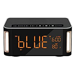 OOLIFENG Wireless Bluetooth Speaker,Dual Alarm Clock Radio Touch Sensor Bedside Lamp, Dimmable Warm Light & Color Changing, MP3 Music Player,Sleep Timer,LED Display
