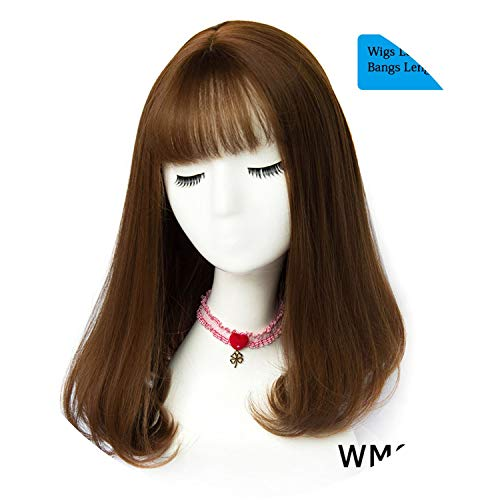 Get-in 45 Colors Synthetic Long Straight Natural Hair Wigs With Bangs Womens African American Hair Brown Blonde Gray Color,WM 07 F3,20inches -