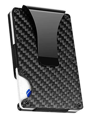 Carbon Fiber Minimalist Wallets for Men, Geelyda Slim Metal Rfid Wallets with Money Clip, Credit Card Holder Wallet