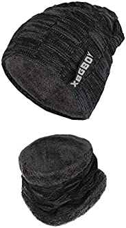 Leejooy Mens Winter Hat and Scarf Set Knit Thickened Lining Cap Neck Warmer 2-Piece Gift