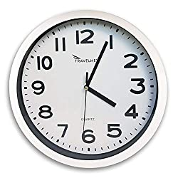 Travelwey Home Wall Clock Battery Operated, No Bells, No Whistles, Simply Hang and Go, Silent and Non Ticking, Glass Front Wall Clocks, Big Bold Digits