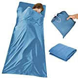 WELOVE Lightweight Warm Roomy Cotton Sleeping Bag Liner Sleep Sack Camping Travel Outdoor Picnic Travel Sheet Sleep Sack Comfortable, for Travel, Youth Hostels, Picnic, Planes, Trains 83'X45'Blue