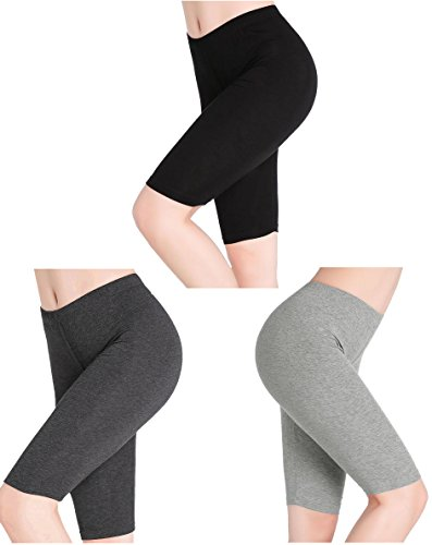 (CnlanRow Women Under Skirt Pants Soft Stretch Knee Leggings Fitness Shorts Tights)