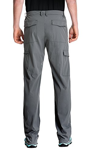Clothin Men's Elastic-Waist Travel Pant Stretchy Lightweight Cargo Pant Quick Dry Breathable(Grey S)