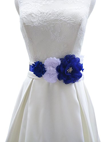 Color Any Sash (Flowers maternity sash wedding sashes romantic flowers sashes (Royal blue and white))