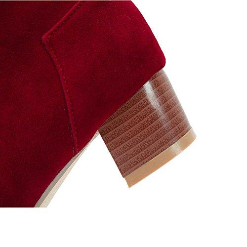 desgaste moda tacón cremallera H Shi de 42 XIAOGANG cachemir mujeres antideslizante resistente cortas de HCuatro red Gris rojo XI Scrub Beige Gris goma botas temporadas al 8zzgnTP