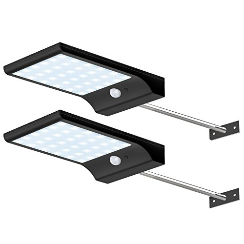 CREATIVE DESIGN Solar Lights Outdoor, 36 LED Gutter Solar Lights with Mounting Pole Motion Lights for Patio Barn Garage, Pack of 2 (Clip Powered Solar On Lights)