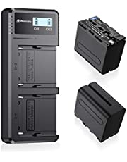 Powerextra 2 Pack 8800mAh Replacement NP-F970 Battery and Smart Fast LCD Display Dual USB Charger for Sony NP-F930 NP-F950 NP-F960 Battery and Sony CCD-SC55, TR516, TR716, TR818, TR910, TR917