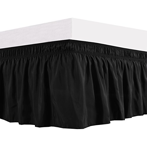 - Biscaynebay Wrap Around Bed Skirts Elastic Bed Ruffles, Easy Fit Wrinkle and Fade Resistant Solid Color Silkt Luxurious Fabric, Black Queen Size15 Drop