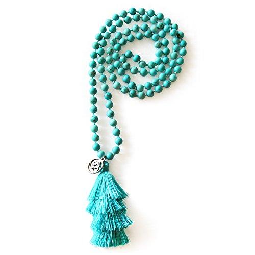 MHZ JEWELS Turquoise Mala Beads Necklace Bracelet Gemstone Prayer Beaded Meditation Yoga Necklace for (Silk Necklace Bracelet)