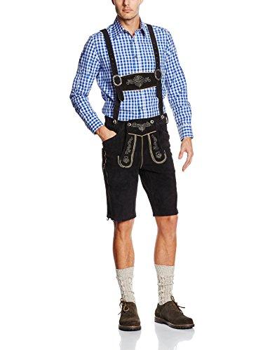 Gaudi-Leathers Herren Trachten Lederhose Shorts kurz mit Träger in Schwarz (Schwarz 050), W37 (Herstellergröße: 50)