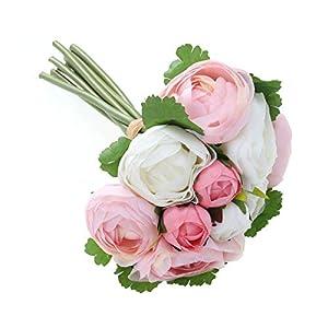 BESTOYARD 10pcs Artificial Flowers Camellia Bridal Wedding Bouquet Bridesmaid Bride Toss Bouquet Home Decoration (Pink & White) 7
