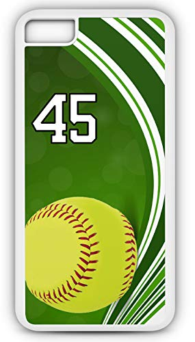 iPhone 8 Plus 8+ Case Softball S104Z Choice of Any Personalized Name or Number Tough Phone Case by TYD Designs in White Plastic and Black Rubber with Team Jersey Number 45