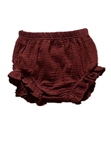 AYIYO Toddler Baby Girls Kids Cotton Linen Ruffle Bloomer Shorts Diaper Cover (18~24 Months, Coffee)