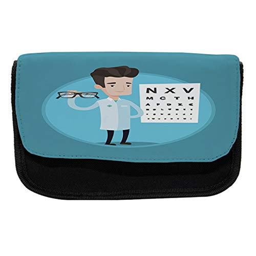 Ambesonne Eye Chart Pencil Case, Doctor Holding Eyeglasses, Fabric Pen Pencil Bag with Double Zipper, 8.5