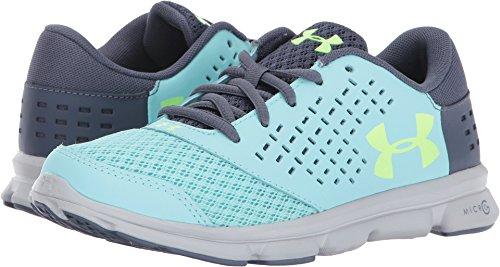 Under Armour Girls' Grade School Micro G Rave, Blue Infinity/Apollo Gray/Quirky Lime, 4 M US Big Kid