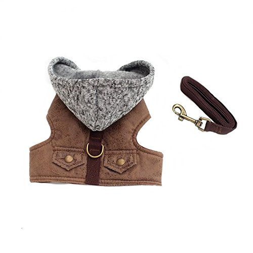 Stock Show Pet Dog Vest Harness and Leash Set with Cute Bowtie Small Dog Outdoor Walking Jackets Breathable Fashion Jeans Cloth for Small Puppy Dogs Teddy Poddle (S, Brown Buckskin)