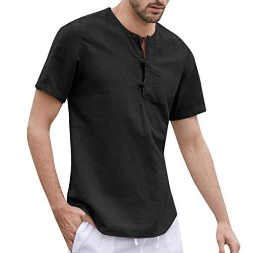Beautyfine Men's Baggy Short Sleeve Cotton Linen Button Shirts Solid O-Neck T Shirts Tops Black