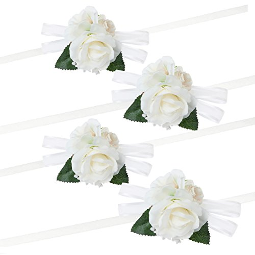 (Pack of 4 Girl Bridesmaid Wedding Wrist Corsage Party Prom Hand Flower Decor Ivory)
