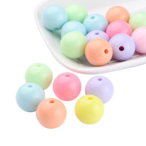 Pandahall 20 PCS Mixed Color Solid Chunky Bubblegum Acrylic Ball Beads 16mm Round Bead for Jewelry Making ()