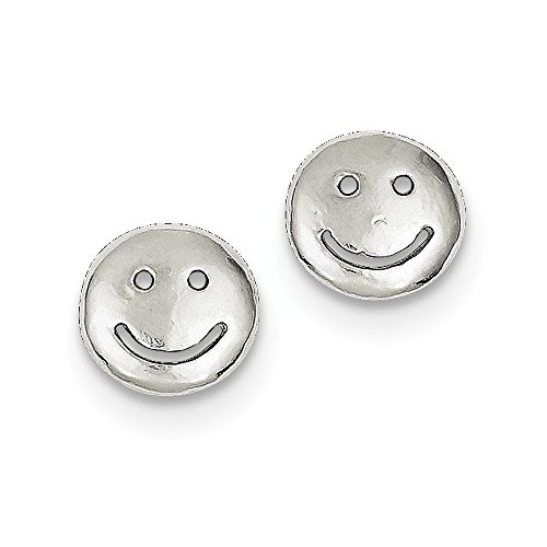 - Solid .925 Sterling Silver Smiley Faces Mini Earrings 10x10mm