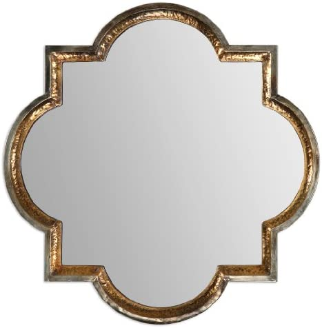 Designer 40 Hammered Gold Quatrefoil Wall Mirror Home Kitchen