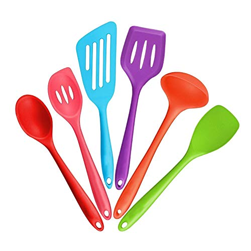 kitchen cooking silicone set cooking Kitchen utensils Cooking Utensils Set Nonstick Utensil Set 2 Spoons, 2 Turners, 1 Spoonula / Spatula & 1 Ladle - (Multicolor)