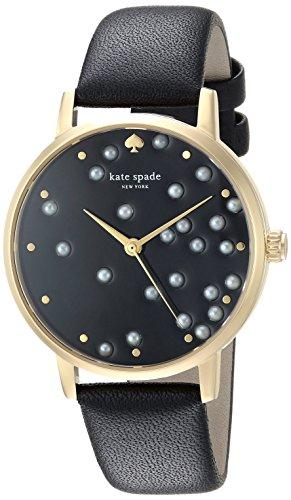 kate spade new york Women's Metro Stainless Steel Analog-Quartz Watch with Leather Calfskin Strap, Black, 16 (Model: KSW1395)