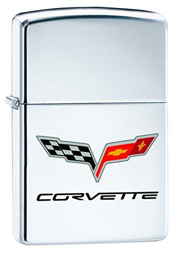Zippo Lighter: Chevy Corvette Logo - High Polish Chrome 76485 (Zippo Car)