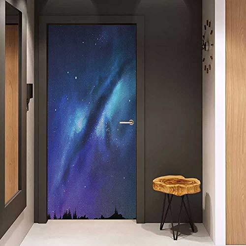 Onefzc Glass Door Sticker Decals Night Milky Way Inspired Nebula Cluster Galaxy Fantastic Cosmos Constellation Door Mural Free Sticker W38.5 x H79 Aqua Dark Blue Black