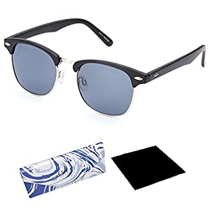 EVEE Semi-Rimless Clubmaster Polarized Sunglasses + LIMITED EDITION CASE + MICROFIBER CLEANING CLOTH (NEERD)
