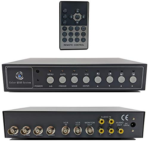 - CCTV Camera Pros VM-Q401A CCTV BNC Color Quad Processor | Analog Security Camera Multiplexer | Video Screen Splitter