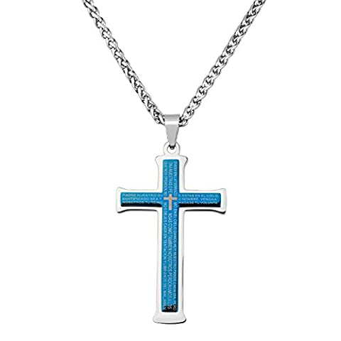 Charmed Craft Titanium Steel Simple Bible Lord's Prayer Mens Cross Necklace Pendant Chain Crucifix Cheap - Lords Prayer Craft