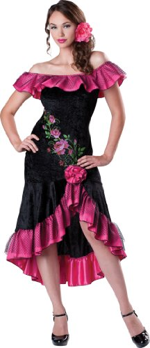 InCharacter Costumes Women's Flirty Flamenco Costume, Black/Pink, X-Large ()