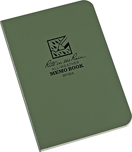 Rite in the Rain All-Weather Soft Cover Pocket Notebook, 3 1/2' x 5', Green Cover, Universal Pattern (No. 954)