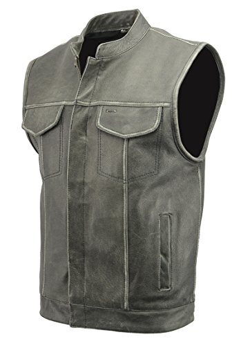 Leather Apparel Biker (Men's SOA Leather Club Style Vest with Concealed Gun Pocket | Soft Cowhide Leather | Motorcycle Biker Apparel with Patch Access Lining & Hand Warming Pockets (Distressed Grey, 3X))
