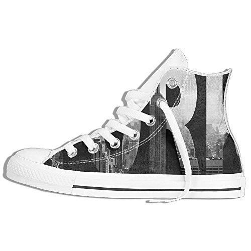 Classiche Sneakers Alte Scarpe Di Tela Antiscivolo New York City Casual Da Passeggio Per Uomo Donna Bianco