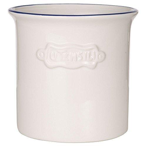 Vintage Ceramic Utensil Container- Utensil Crock With Embossed