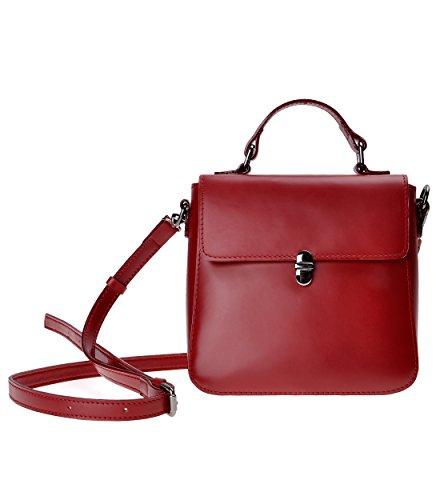 Zlyc Women's Handmade Leather Shoulder Bag Mini Lady Satchel Cross-body Bag (red) Qy-sh1606-mlzly2001-rd